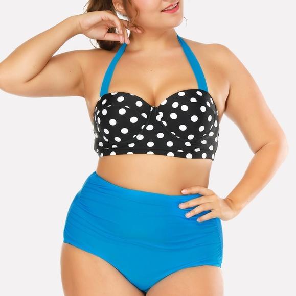 ba588e0f3a2f8 Unbranded Swim | Sale Blue Polkadot High Waist Bikini Set | Poshmark